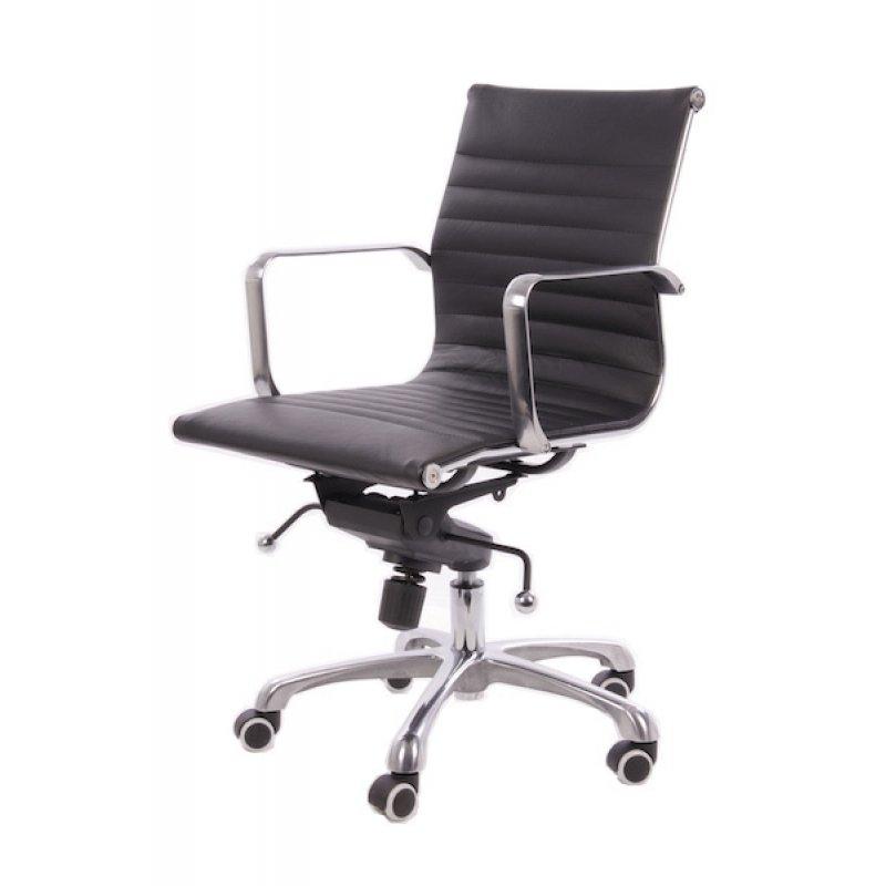 Bureaustoel design zwart leer lage rugleuning for Bureau stoel