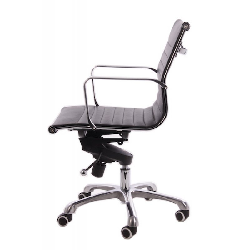Design Bureaustoel Zwart Leer.Bureaustoel Design Zwart Leer Lage Rugleuning