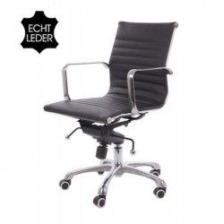 Bureaustoel design zwart leer lage rugleuning