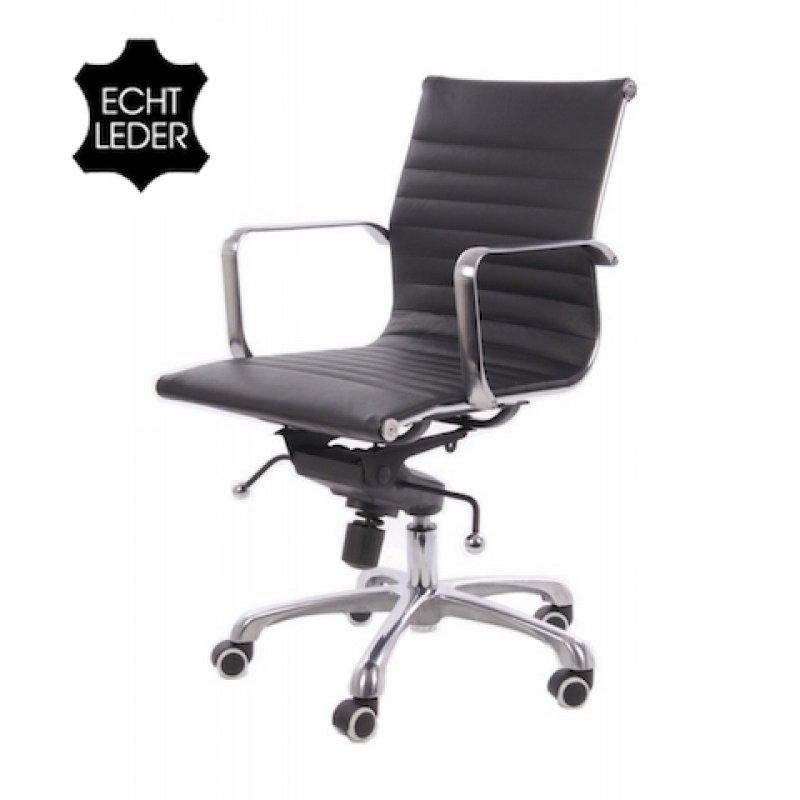 Bureaustoel design zwart leer lage rugleuning for Bauhaus stoel leer
