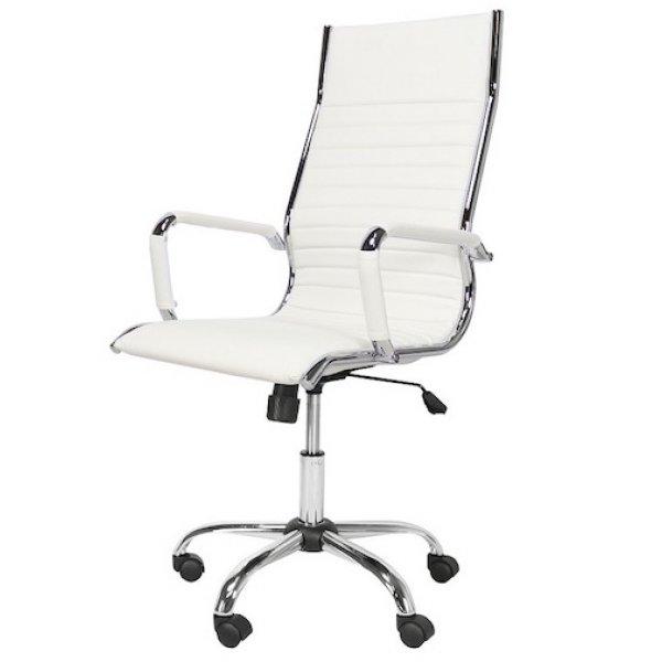 bureaustoel design wit hoge rugleuning