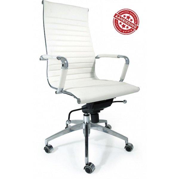 bureaustoel design 5-standen verstelling wit hoge rug