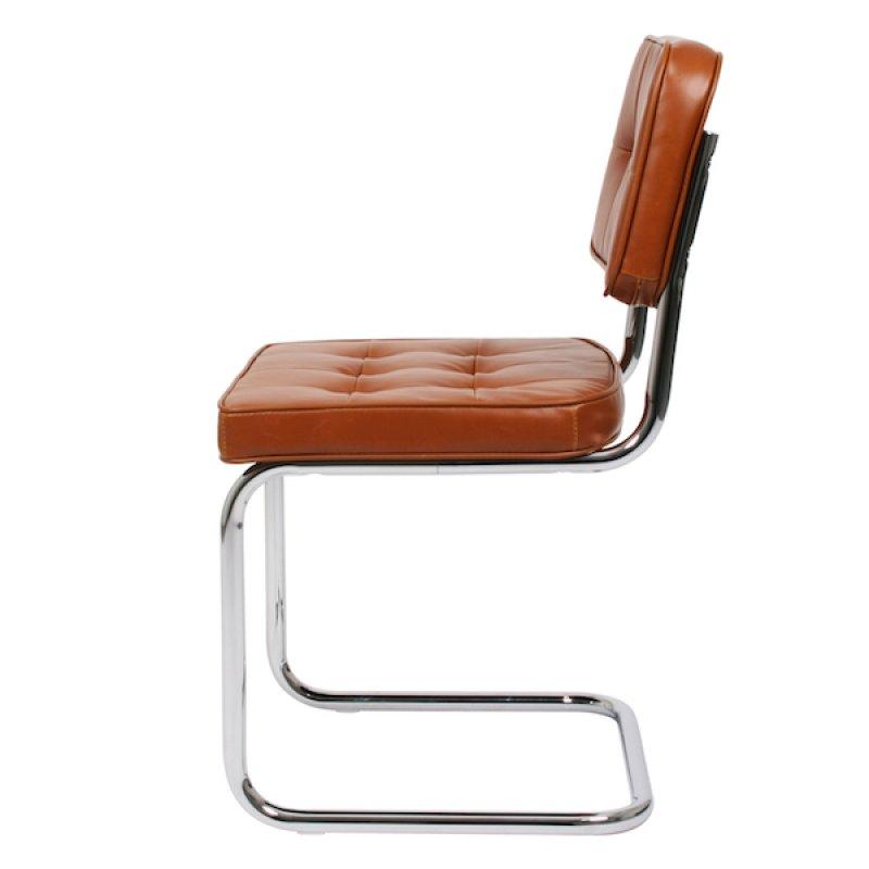 Bauhaus eetkamerstoel cognac retro for Bauhaus design stoelen