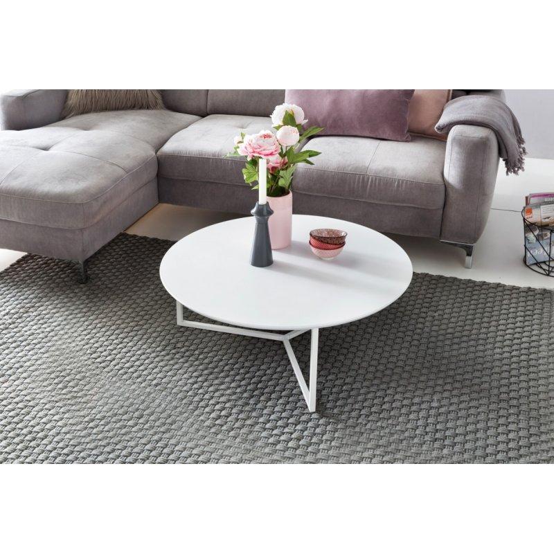 Design Salontafel Mat Wit.Salontafel Mdf Hout Wit Mat Metalen Frame O 80 Cm
