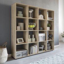 Design boekenkast met 16 vakken Sonoma eiken 138 x 142 x 29 cm
