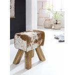 Turn Bok kruk geitenleer Brown / White 40 x 30 x 47 cm | Draai kruk kruk leer kruk | Extra kruk leren poef