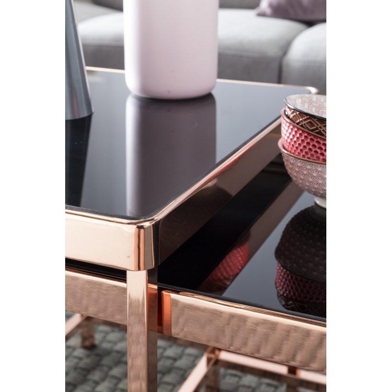 2 Glazen Bijzet Tafeltjes.Set Van 2 Bijzettafeltjes Metaal Glas Zwart Koper