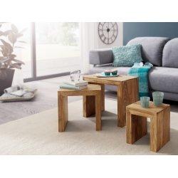 WOHNLING 3er Set Satztisch MUMBAI Massiv Holz Akazie Wohnzimmer Tisch  Landhaus Stil Beistelltisch