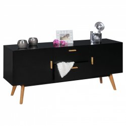 retro dressoir SCANIO MDF Black 2 lades en deuren Scandinavian
