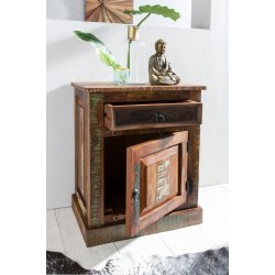 dressoir DELHI 55 x 35 x 70cm massief hout nachtkastje met deur en lade