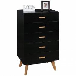 dressoir SCANIO 60x110x40 cm MDF zwart dressoir met 5 laden