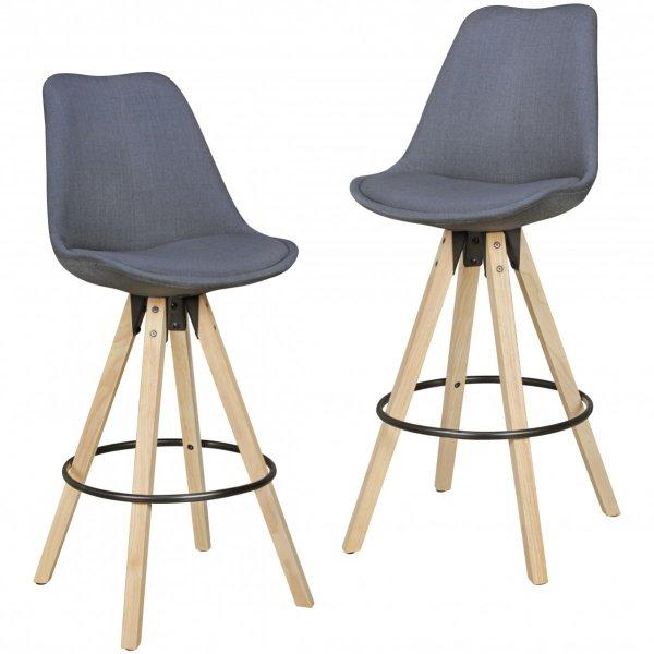Set van 2 barkrukken LIMA antraciet Retro design kunstlederen hout met rugleuning zithoogte 72 cm