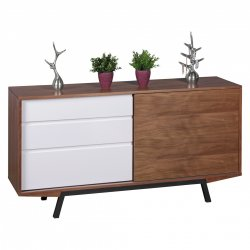 Dressoir Walnoot / wit MDF
