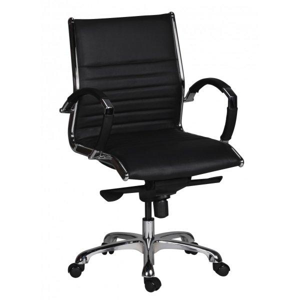 bureaustoel SALZBURG 2 zwart lederen bureaustoel
