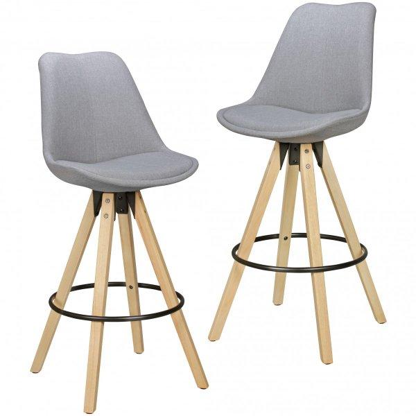 Set van 2 barkrukken LIMA Grijs Retro design kunstlederen hout met rugleuning zithoogte 72 cm