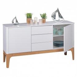 dressoir White / Ash MDF Retro Buffet 150 cm met 3 laden en 2 deuren